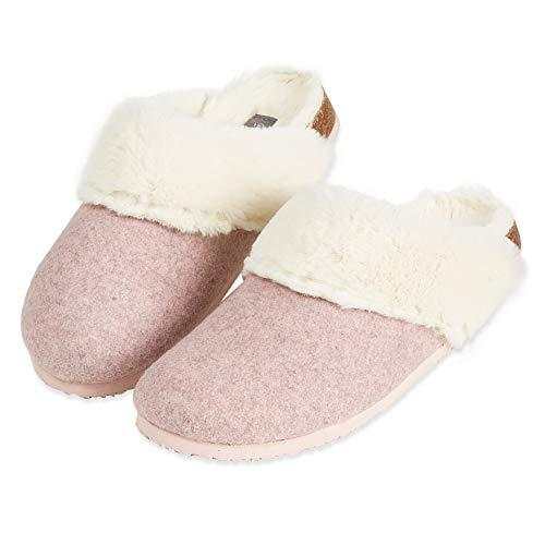 Dunlop Ciabatte Donna, Pantofole Invernali con Pelliccia, Ciabatta con Pelo Antiscivolo E Soletta Memory Foam, Babbucce Pelose per Casa, Idea Regalo Compleanno (Rosa, Numeric_39)