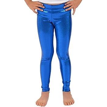 Loxdonz Girls Shiny Wet Look Leggings Kids Liquid Metallic Dance Footless Tights  9-10 Years Royal Blue
