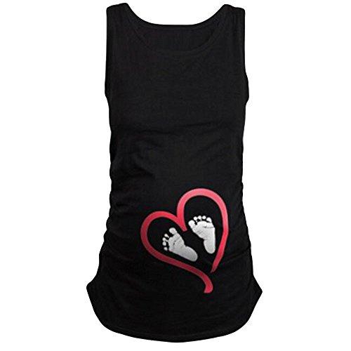 Topgrowth Magliette Premaman Divertente Piedi Donna Camicetta Senza Maniche T-Shirt di maternità (Nero, M)