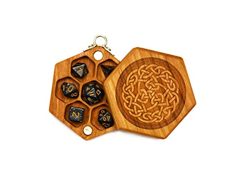 Pocket Sized Hex Dice Wood Chest with Magnetic Lid - Perfect for DND, Magic The Gathering Dice Counters and Any Other Tabletop Games by Elderwood Academy (Mini-Cherry / Celtic)