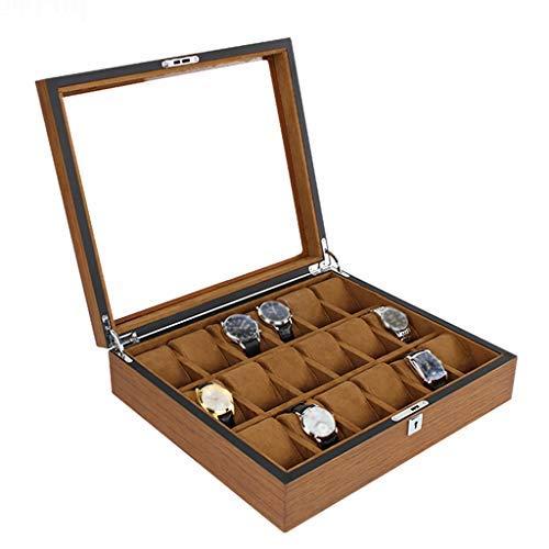 XUENUO Caja para Relojes Caja Reloj de Gran Hombres - Relojes 18 Ranuras, Caja de Reloj Organizador Cristal Reloj de Madera de Almacenamiento,A: Amazon.es: Hogar
