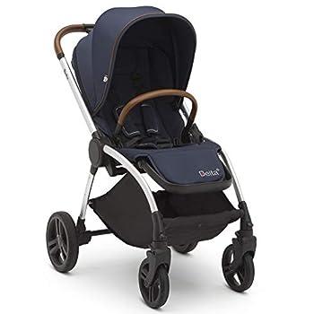 Delta Children Revolve Reversible Stroller Navy - Leather Handlebar One Hand Easy Fold Lightweight Shock-Absorbing Frame Reclining Seat and Adjustable Footrest