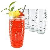 Set of 4 Tall Bar Tiki Glasses - Hawaiian Style Glass 20 Ounce Clear Large Tumblers - w/ Straws