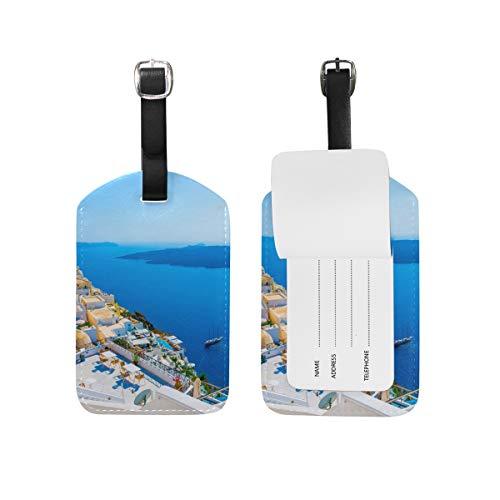 Eslifey Grecia Santorini Caldera - Etiquetas de piel sintética para maleta, etiquetas de equipaje