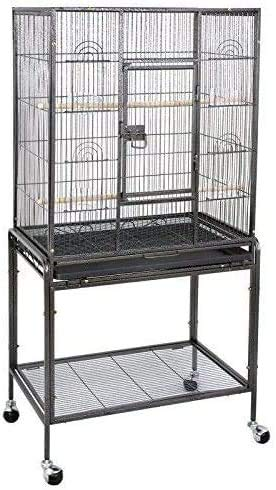 SUPER DEAL 53-Inch Rolling Bird Cage Large Wrought Iron Cage for Cockatiel Sun Conure Parakeet Finch Budgie Lovebird Canary Medium Pet House with Rolling Stand & Storage Shelf