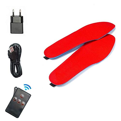 BININBOX Plantillas Calefactables,Mando a Distancia para Regular la Temperatura Calentadores de pies, Recargable,Mujeres Hombres Plantillas calefactables de Felpa (Rojo, 35-40)
