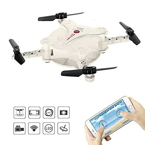 LNHJZ FQ777 FQ17W Giroscopio a 6 Assi Mini WiFi FPV Pieghevole G-Sensor Pocket Drone con Fotocamera da 0,3 MP Altitude Hold RC Quadcopter (Bianco)