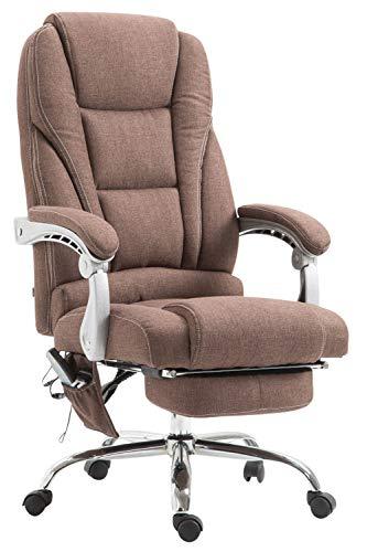 CLP Chefsessel Pacific Stoff mit Massagefunktion l Höhenverstellbarer Bürostuhl mit ausziehbarer Fußablage l Max. belastbar bis 150 kg, Farbe:braun
