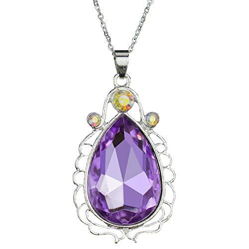 Sofia Necklace Amulet Teardrop Amethyst Pendant Necklace Sofia Princess Costumes Jewelry Girls Necklace (Purple) S3