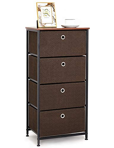 Storage Cabinet with 4 Fabric Drawers Narrow Cabinet Chest of Drawers Small Wardrobe Sofa Side Table Sideboard Organiser for Bedroom Living Room Hallway Entryway Kitchen Wooden Steel Black & Brown