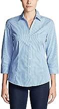 Eddie Bauer Women's Wrinkle-Free 3/4-Sleeve Shirt - Print, Blue Petite M