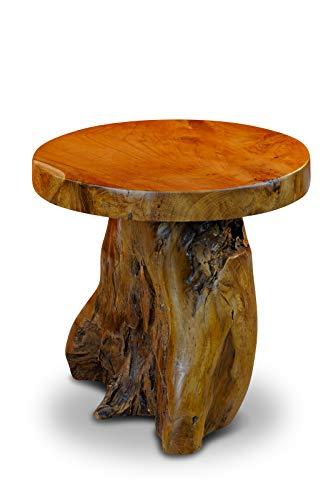 Kinaree Mesa auxiliar JOMTIEN de madera maciza de teca – 40 cm redonda de madera de raíz tronco de árbol – taburete para flores