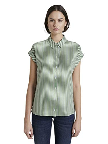 TOM TAILOR Damen Kurzarmbluse Polohemd, 21387-green Offwhite Strip, 42
