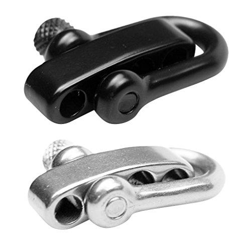 Milageto 2 Pack U Flat Adjustable Shackle Buckle Clasp for Survival Bracelet