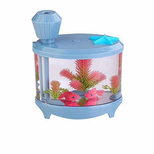 Efanr Mini aquarium humidificateur purificateur d'air avec LED Lumière de nuit Poisson bols aquatique animaux Home Decor 460 ml ultrasonique Mist Maker purificateur d'air Air Aroma Maison de voyage pour chambre à coucher Bureau Voiture