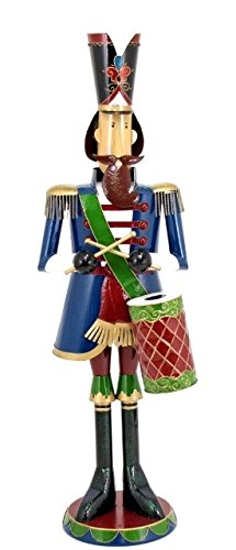 Giant Life-Size 70' Iron Nutcracker Christmas Holiday Toy Soldiers (Blue with Drum)
