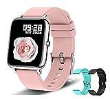 Reloj inteligente para teléfonos Android e IOS, OMANIFER P22 Reloj deportivo impermeable con 3 pares de correas de reloj, pantalla táctil completa de 1.3 pulgadas, rastreador de ejercicios con monitor de frecuencia cardíaca / oxígeno en sangre / sueño para hombres y mujeres, Más 2 Correas