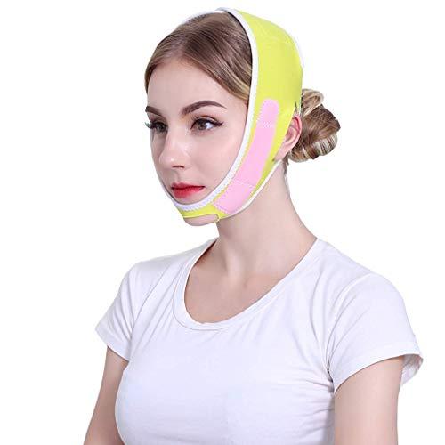 DGHJK Cinturón Facial Fino,artefacto de EstiramientoFacial,Cara en V, Doble mentón, Vendaje, Levantamiento del sueño, máscara de corrección Facial reafirmante (Color: Rosa y Amarillo)
