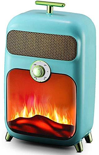 YLLN Estufa eléctrica, Quemador eléctrico Retro de 900 vatios con Quemador de leña, Estufa de Fuego con Efecto de Llama, Chimenea Independiente, leña, luz LED, Temperatura Ajustable, Color Bla