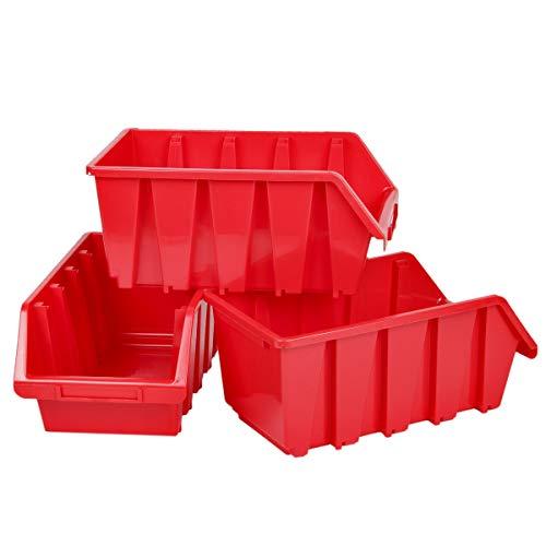 Cajas de almacenamiento (3 unidades, apilables, 8 L), color rojo
