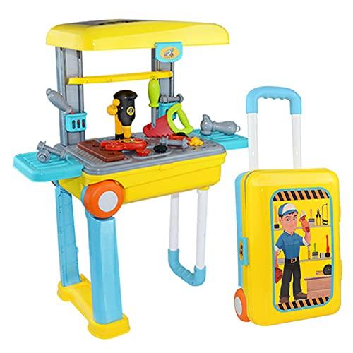 MGJX Casetta dei Giochi per Bambini Set di Giocattoli Puzzle per Ragazzi Strumento per Viti da banco Simulazione di Riparazione Cassetta degli Attrezzi Giocattolo Set di valigie da Viaggio 2 in 1 per