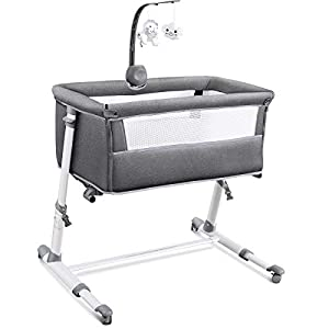 RONBEI Bassinet for Baby, Newborn Bedside Bassinets with Wheel, Infant & Toddler Beds with Cribe Mobile