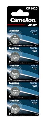 Camelion 13005620 - Lithium Knopfzellen-Batterie CR1620 mit 3 Volt, 5er Set, Kapazität 90 mAh, für verschiedenste Geräte- und Verbraucheranforderungen