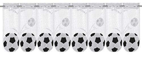 Clever-Kauf-24 Scheibengardine Fussball | Lamellenpanneau mit Stangendurchzug HxB 45x150cm | Fußball Sport | Kinderzimmer |