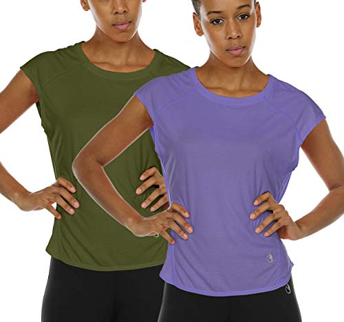 icyzone Workout T-Shirt for Women - Fitness Gym Yoga Running Exercise Cap Sleeves Tops (Pack of 2) (M, Olive/Lavender)
