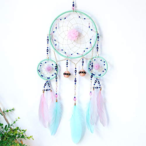 TEESHLY Dream Catcher Handmade Decoration Ethnic Style 3 Circles Dreamcatcher with Two Color Feather Wall Hanging Ornament (Pink & Cyan)