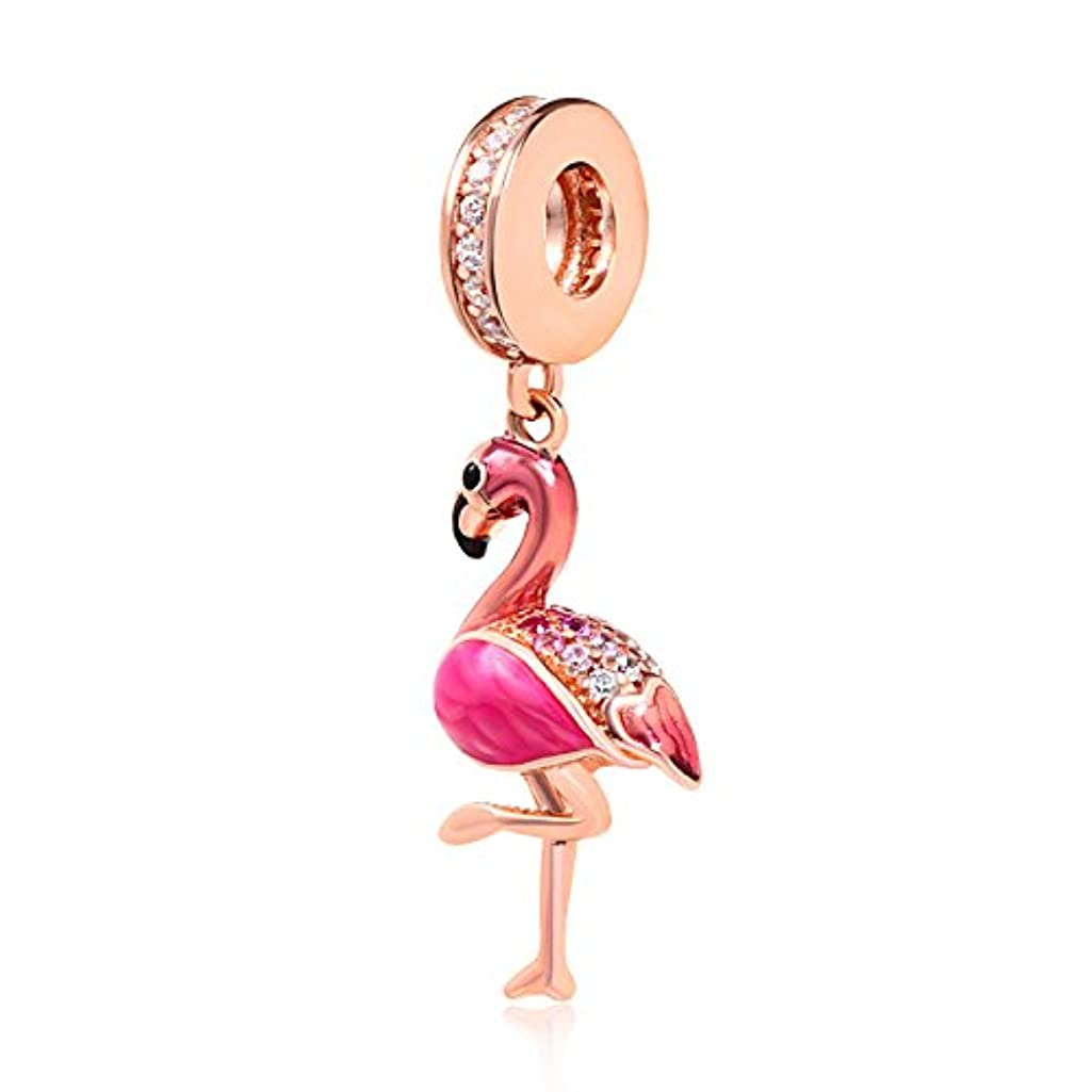 Flamingo Dangle Animal Charm 925 Sterling Silver CZ Stone Beads Pendant Charm 3mm Snake Chain (Rose Gold)