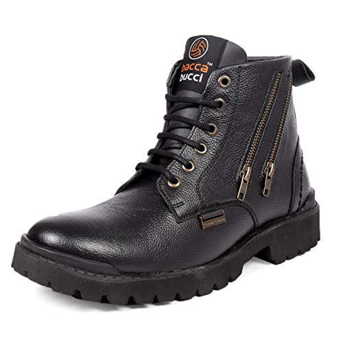 Bacca Bucci® New-York Men's Military Genuine Leather Motorcycle Combat Boots for Men-Black