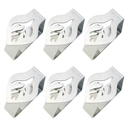 MOVKZACV Juego de 6 clips de tela de mesa, cocina de acero inoxidable, diseño de hojas, 6 piezas, plata, clips de mesa para el hogar, picnic, barbacoa, fiesta de boda