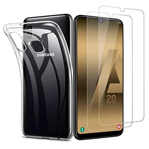 Samsung Galaxy A20e Panzerglas Hülle [1 Hülle + 2 Panzerglas], Transparent TPU Soft Premium Hülle für Samsung A20e, Anti-Kratzer Schock-Absorption Durchsichtig Schutzhülle für Galaxy A20e