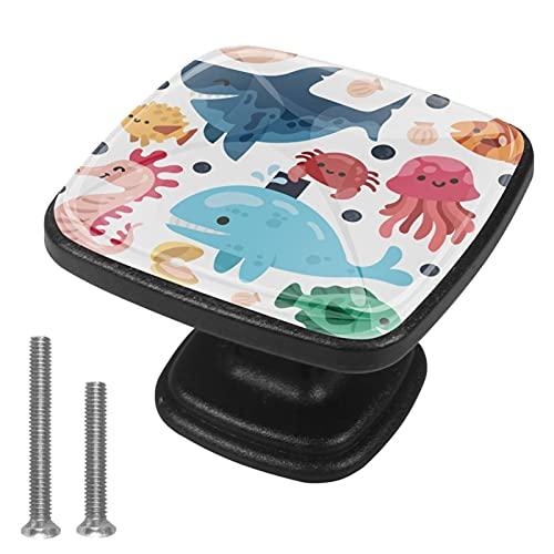 Z&Q Tirador Pomo Mueble Infantil Animales Marinos de Color De Pomos Tiradores para Armario/Cajón/Baño para Habitación de Infantil Decoración 4 Pcs 3x2.1x2 cm