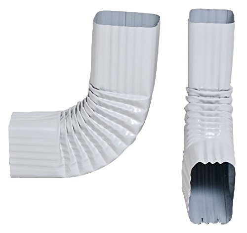 2x3 and 3x4 - Downspout Gutter Elbows - Choose from 30 Degree, 45 Degree, 75 Degree 90 Degree (90 Degree, Style B, 3x4, Low Gloss White)