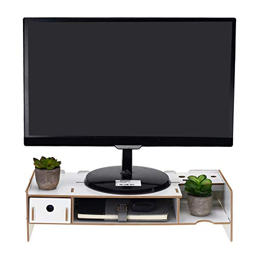 Monitor Stand Riser Computer Monitor Stand Laptop Riser Stand Base Desktop Organizer Storage Shelf Bracket for Home Office Desk Monitor Stand (Size:48 * 20 * 12cm; Color:White)