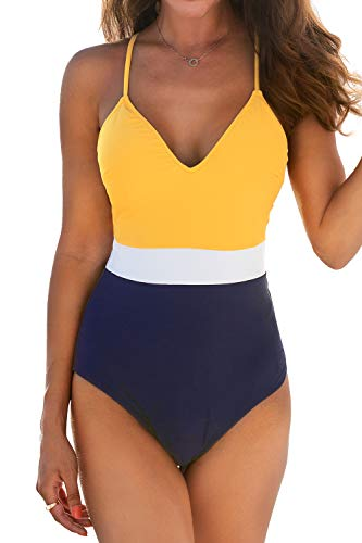 CUPSHE Women's One Piece Swimsuit V Neck Cross Back Color Block Beach Swimwear Bathing Suits M
