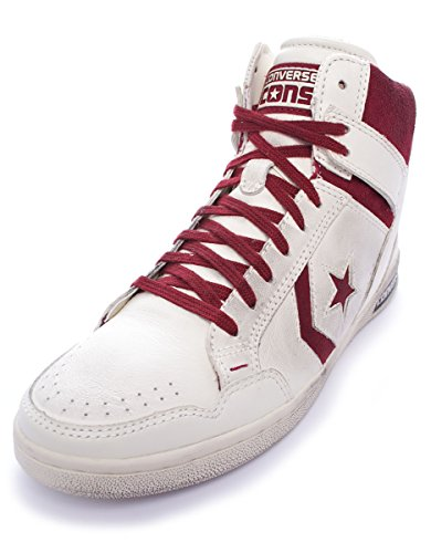 Converse Weapon Hi Leather/Suede Unisex Adulto, Sneaker Off White Maroon (36)