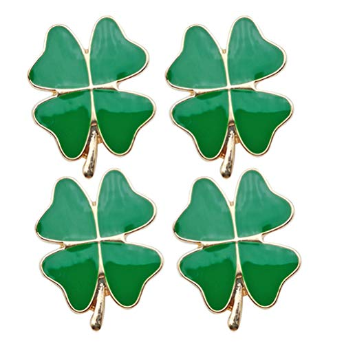 ABOOFAN 4Pcs Clover Shaped Brooch Decorative Corsage Creative Breastpin Decor ( Green )