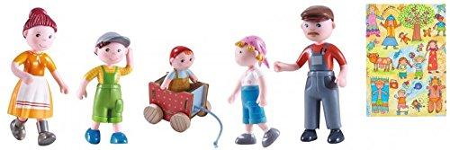 HABA Biegepuppen Little Friends I Bäuerin Johanna I Bauer Franz I Vreni I Nils ICasimir I Geschenkset I Puppenhaus I Bauernhof I Geschenkverpackung I Bauernhaus
