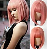 Oxeely Short Pink Wigs Synthetic Straight Bob Glueless Peach Pink Colored Wigs No Lace Wigs with Bangs for Women Daily Party Cosplay Wigs