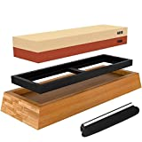 Knife Sharpening Stone Kit Professional Whetstone Sharpener Stone Set Knife Sharpening Stone Set - Premium 2 Side Grit 1000/6000 Water Stone with Non-slip Bamboo Base, Angle Guide