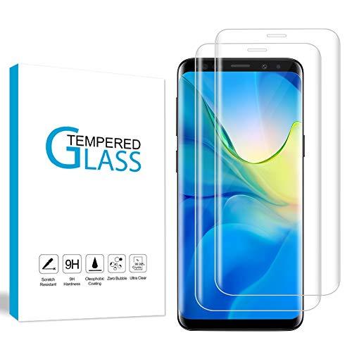 Wsky Panzerglas Schutzfolie Kompatibel mit Samsung Galaxy S9 Plus, 9H Härte, Anti-Kratzen, Bläschenfrei, HD-Klar Panzerglasfolie Displayschutzfolie für Samsung S9 Plus - 2 Stück