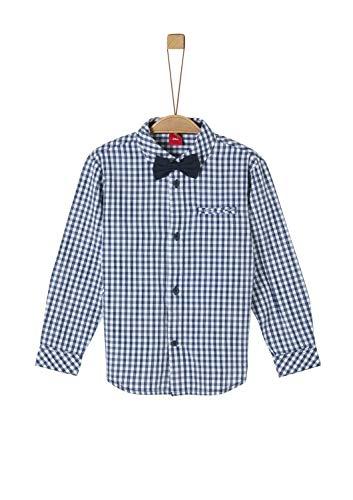 s.Oliver RED Label Jungen Kariertes Hemd mit Fliege Dark Blue Check 128/134.REG