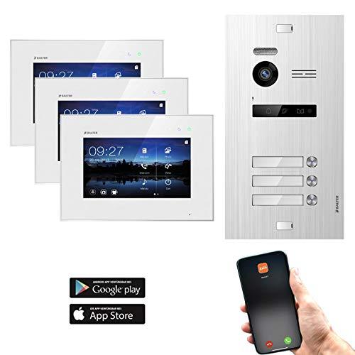 BALTER EVO Video Türsprechanlage ✓ Touchscreen 7 Zoll Monitor ✓ Türstation für 3 Familienhaus Türklingel ✓ Smartphone App ✓ 2-Draht BUS ✓ 150° Weitwinkel-Kamera