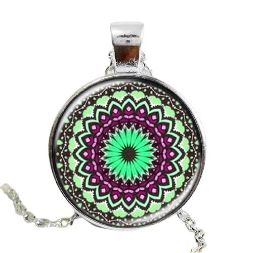 Antigua flor mandala flor colgante henna yaga collares jewwlry domo vidrio hecho a mano collar om símbolo budismo zen 2017