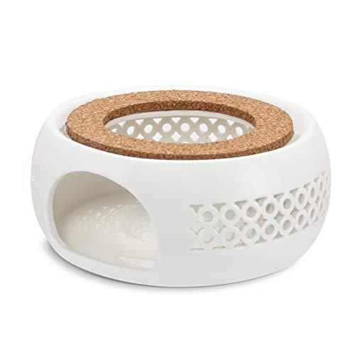 Mopoin Stövchen, Teewärmer aus Keramik Teekanne Wärmer Hohl Geschnitztes Design Heizung Kaffeewärmer für die Wärmeerhaltung von Tee und Kaffee Geeignet