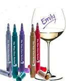 wine and cheese accessories - The Original Wine Glass Markers - (Set of 5 Wine Markers) – Vibrant Colors - Wine Glass Charms – Fun Wine Accessories – Write on any glassware - Easy Erasable