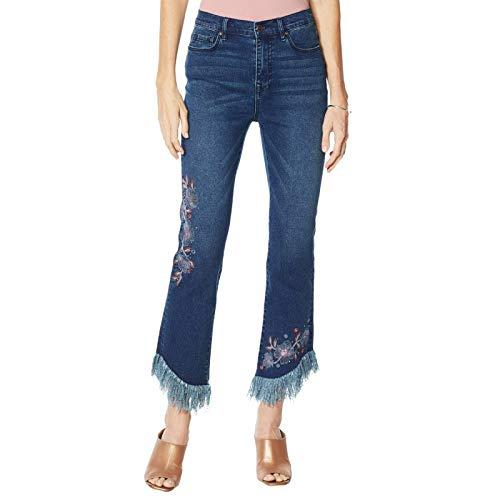 DG2 by Diane Gilman Women's Embellished Fringe Hem Cropped Jeans 12 Indigo Blue